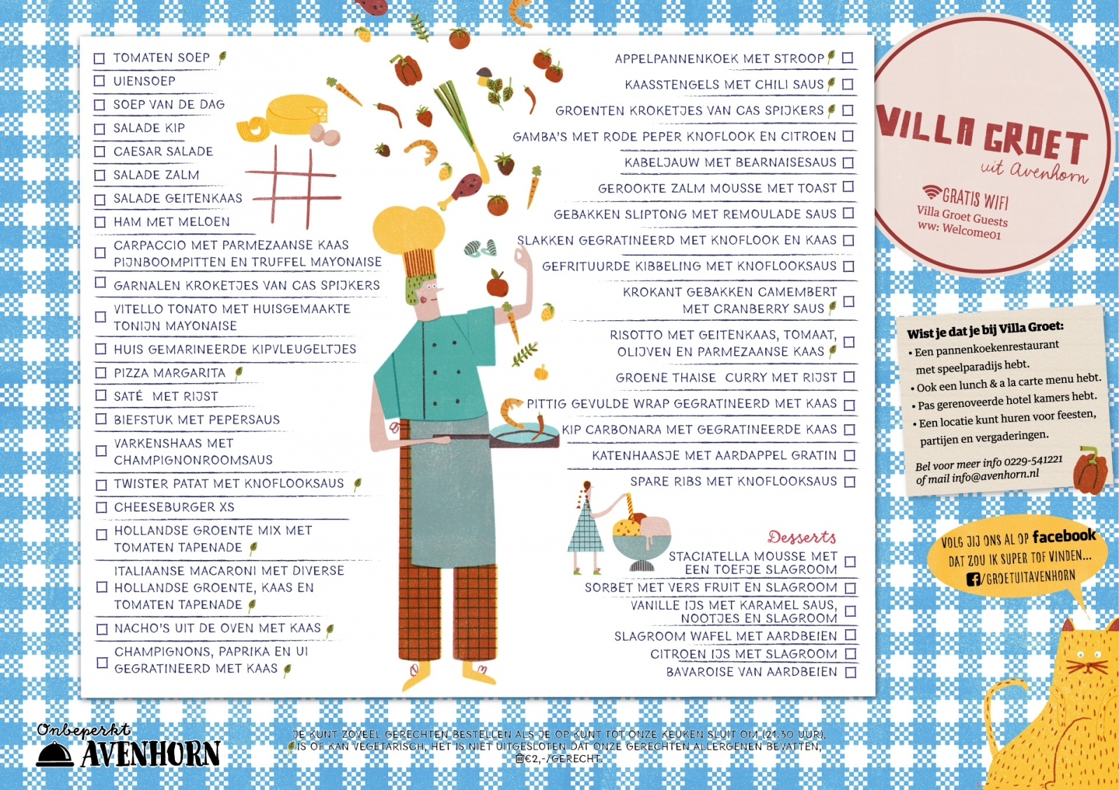 Pannenkoeken menukaart
